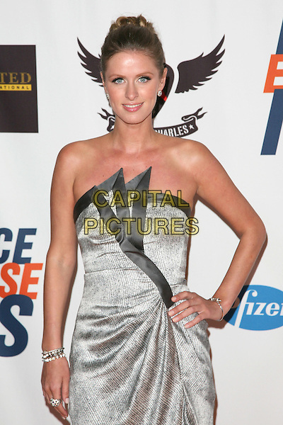 NICKY HILTON.The 18th Annual Race To Erase MS Gala held at The Hyatt Regency Century Plaza Hotel in Century City, California, USA. .April 29th, 2011.half length dress silver hand on hip grey gray hair up strapless                             .CAP/RKE/DVS.©DVS/RockinExposures/Capital Pictures.