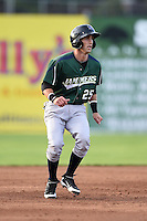 Jamestown Jammers shortstop Erik Forgione (25) leads off second during a game against the Batavia Muckdogs on July 25, 2014 at Dwyer Stadium in Batavia, New York.  Batavia defeated Jamestown 7-2.  (Mike Janes/Four Seam Images)