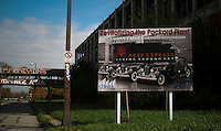 A banner of an abandoned company in Detroit, the city has more than 16 months of filing for bankruptcy.  10.24.2014. Teddy Blackburn /VIEWpress