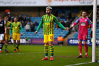 9th February 2020; The Den, London, England; English Championship Football, Millwall versus West Bromwich Albion; Charlie Austin of West Bromwich Albion positons himself for a corner kick defense