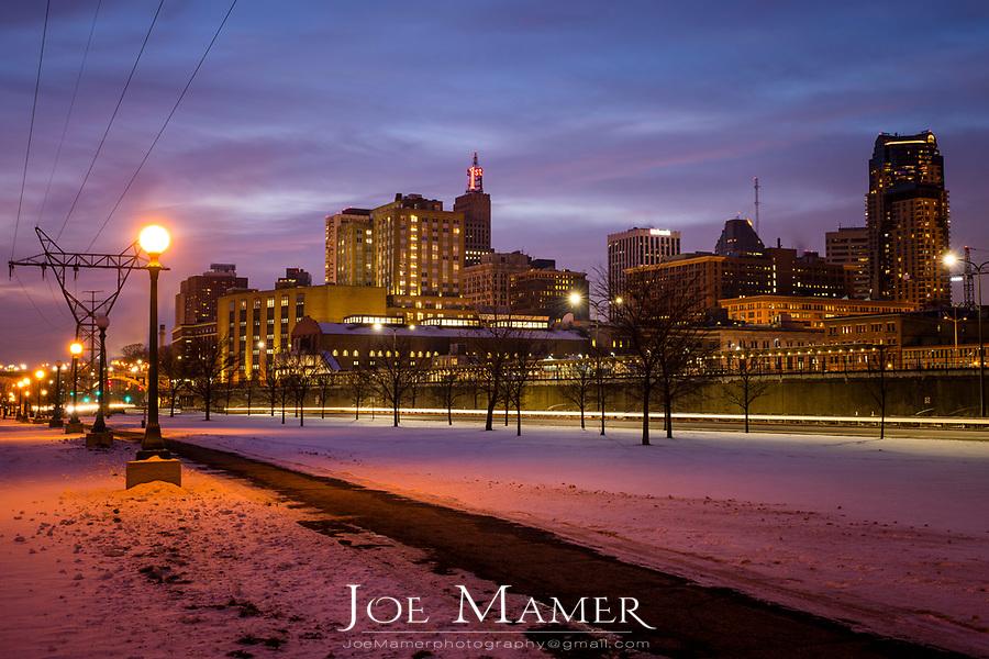 Saint Paul Minnesota skyline at dusk  in winter.