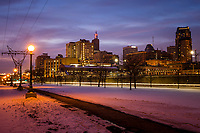 Saint Paul Minnesota skyline at dusk  in winter.