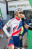 6th September 2017, Mansfield, England; OVO Energy Tour of Britain Cycling; Stage 4, Mansfield to Newark-On-Trent;  Chris Lawless tram-leader of the Great Britain-GBR team gives an interview at Registration before the race starts