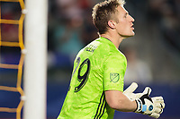 CARSON, CA - SEPTEMBER 15: Tim Melia #29 of Sporting Kansas City yells downfield during a game between Sporting Kansas City and Los Angeles Galaxy at Dignity Health Sports Complex on September 15, 2019 in Carson, California.
