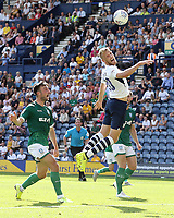 Preston North End's Jayden Stockley glances a header in the penalty area<br /> <br /> Photographer Rich Linley/CameraSport<br /> <br /> The EFL Championship - Preston North End v Sheffield Wednesday - Saturday August 24th 2019 - Deepdale Stadium - Preston<br /> <br /> World Copyright © 2019 CameraSport. All rights reserved. 43 Linden Ave. Countesthorpe. Leicester. England. LE8 5PG - Tel: +44 (0) 116 277 4147 - admin@camerasport.com - www.camerasport.com