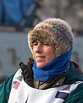 Musher Jodi Bailey, from Fairbanks, at the ceremenial start of the 43rd Annual Iditarod in Anchorage, Alaska. The 1000 mile dog sled race usually restarts in Willow, Alaska, and finishes in Nome. Poor snowfall, however, forced the restart north to Fairbanks.
