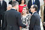 "King Felipe VI of Spain and Queen Letizia during award ceremony of literature in Spanish ""Miguel de Cervantes"" at University of Alcala de Henares in Madrid., April 20, 2017. Spain.<br /> (ALTERPHOTOS/BorjaB.Hojas)"