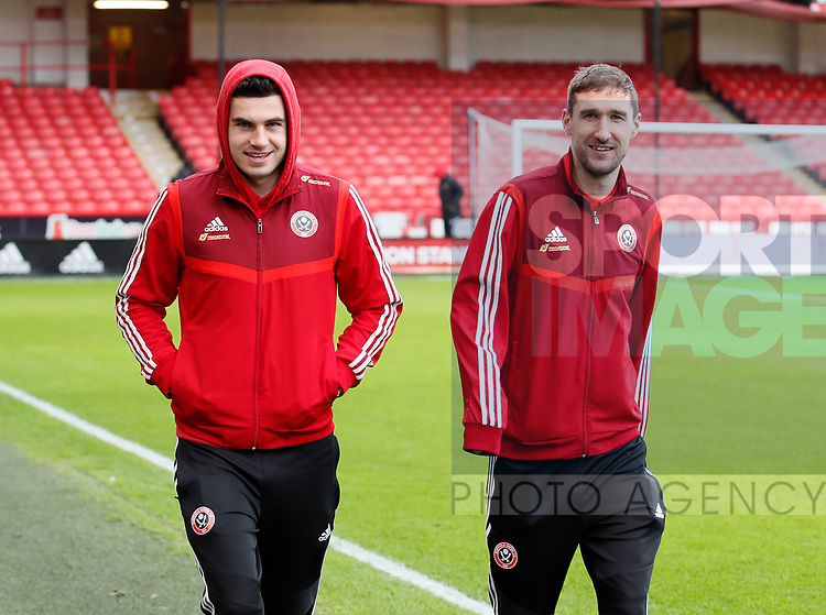 John Egan of Sheffield Utd and Chris Basham of Sheffield Utd during the Premier League match at Bramall Lane, Sheffield. Picture date: 9th February 2020. Picture credit should read: Simon Bellis/Sportimage
