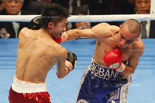 (L to R) <br /> Naoya Inoue (JPN),<br /> Adrian Hernandez (MEX),<br /> APRIL 6, 2014 - Boxing : WBC light fly weight title bout at Ota-City General Gymnasium, Tokyo, Japan. (Photo by AFLO SPORT)