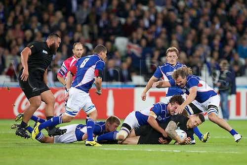 24.09.2015. Olympic Stadium, London, England. Rugby World Cup. New Zealand versus Namibia. New Zealand All Black centre Sonny Bill Williams with the ball.