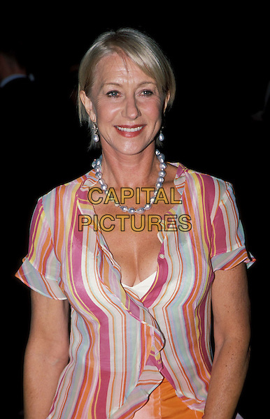 HELEN MIRREN.Calendar Girls Film Premiere at Odeon, Leicester Square.www.capitalpictures.com.sales@capitalpictures.com.© Capital Pictures.striped shirt, stripes ..half length, half-length