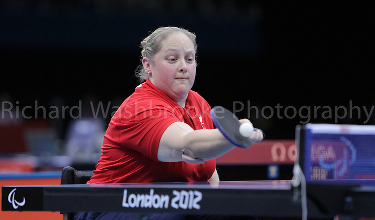 Paralympics London 2012 - ParalympicsGB - Table Tennis..Women's Singles - Class CI 3 Bronze Medal Match Sarah Head  GBR vs Alena Kanova (SVK) held at the Excel Centre on the 3rd September 2012 at the Paralympic Games in London. Photo: Richard Washbrooke/ParalympicsGB