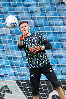 LEEDS, ENGLAND - AUGUST 31: Freddie Woodman of Swansea City warms up prior to the game during the Sky Bet Championship match between Leeds United and Swansea City at Elland Road on August 31, 2019 in Leeds, England. (Photo by Athena Pictures/Getty Images)
