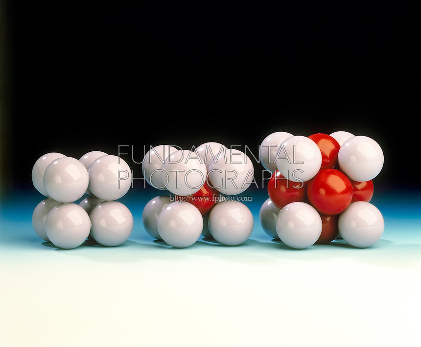 CUBIC CRYSTAL SYSTEM (PACKING)<br /> (Variation Available)<br /> Left to Right:<br /> Simple, Body-Centered &amp; Face-Centered<br /> In the simple cubic cell, spheres come into contact along each edge.  In the body-centered cubic cell, contact of the spheres is along the cube diagonal.  In the face-centered cubic cell, contact of the spheres is along the diagonal of a face.