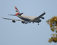 29 SEP 12  A British Airways 747-400 on approach to OHares Runway 9 Right during Saturdays four ball matches  at The 39th Ryder Cup at The Medinah Country Club in Medinah, Illinois.