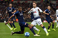 Denzel Dumfries of PSV Eindhoven and Christian Eriksen of Tottenham Hotspur during Tottenham Hotspur vs PSV Eindhoven, UEFA Champions League Football at Wembley Stadium on 6th November 2018
