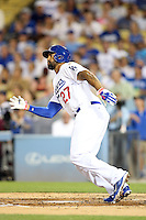 September 24, 2014 Los Angeles, CA: Los Angeles Dodgers left fielder Matt Kemp #27 during an MLB game between the San Francisco Giants and the Los Angeles Dodgers played at Dodger Stadium The Dodgers defeated the Giants 9-1 to win the National League West Title.