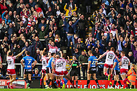 Picture by Alex Whitehead/SWpix.com - 11/05/2018 - Rugby League - Ladbrokes Challenge Cup - Leigh Centurions v Salford Red Devils - Leigh Sports Village, Leigh, England - Leigh's players and fans celebrate Drew Hutchison's try.