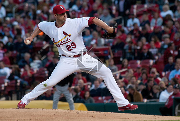 04 May 2011                              St. Louis Cardinals starting pitcher Chris Carpenter (29) throws early in the game. The St. Louis Cardinals hosted the Florida Marlins on Wednesday May 4, 2011 in the third game of a four-game series at Busch Stadium in downtown St. Louis.