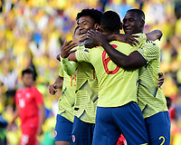 BOGOTA - COLOMBIA, 03-06-2019: Jugadores de Colombia celebran después de anotar el primer gol durante partido amistoso entre Colombia y Panamá jugado en el estadio El Campín en Bogotá, Colombia. / Players of Colombia celebrate after scoring the first goal during a friendly match between Colombia and Panama played at Estadio El Campin in Bogota, Colombia. Photo: VizzorImage / Nelson Rios / Cont