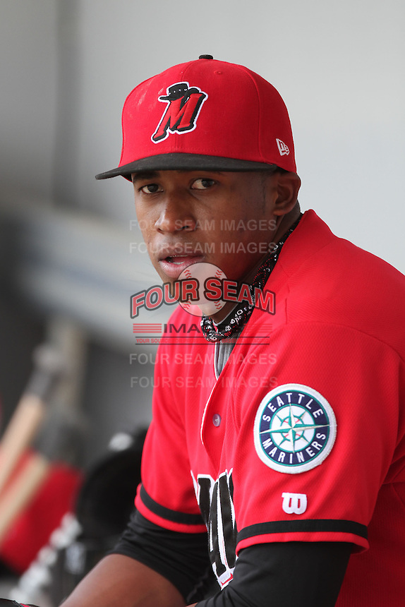 Mario Martinez #32 of the High Desert Mavericks before game against the Rancho Cucamonga Quakes at The Epicenter in Rancho Cucamonga,California on May 8, 2011. Photo by Larry Goren/Four Seam Images