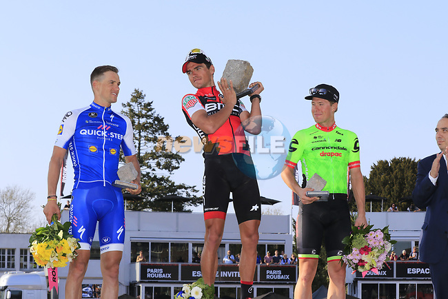Greg Van Avermaet (BEL) BMC Racing wins with Zdenek Stybar (CZE) Quick-Step Floors in 2nd place and Sebastian Langeveld (NED) Cannondale-Drapac in 3rd place after the 115th edition of the Paris-Roubaix 2017 race running 257km from Compiegne to Roubaix, France. 9th April 2017.<br /> Picture: Eoin Clarke   Cyclefile<br /> <br /> <br /> All photos usage must carry mandatory copyright credit (&copy; Cyclefile   Eoin Clarke)