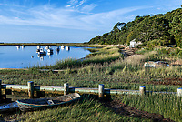 Charming beach shack along Oyster River, Chatham, Cape Cod, Massachusetts, USA.
