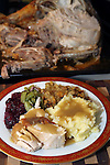 Free Range Turkey, gravy, cornbread dressing, cranberries, green beans and mashed potatoes. ©2015. Jim Bryant Photo. ALL RIGHTS RESERVED.