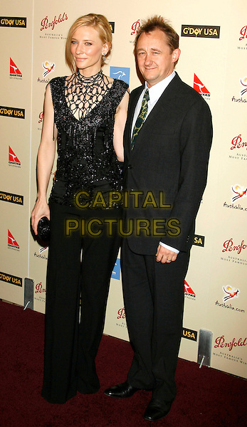 CATE BLANCHETT & ANDREW UPTON.At G'Day USA's 2007 Australia Week Penfolds Icon Black Tie Gala held at the Hyatt Regency Century Plaza, Century City, CA, USA, January 13, 2007..full length black beaded top dress husband wife.CAP/LNC/JAM.©LNC/Capital Pictures.