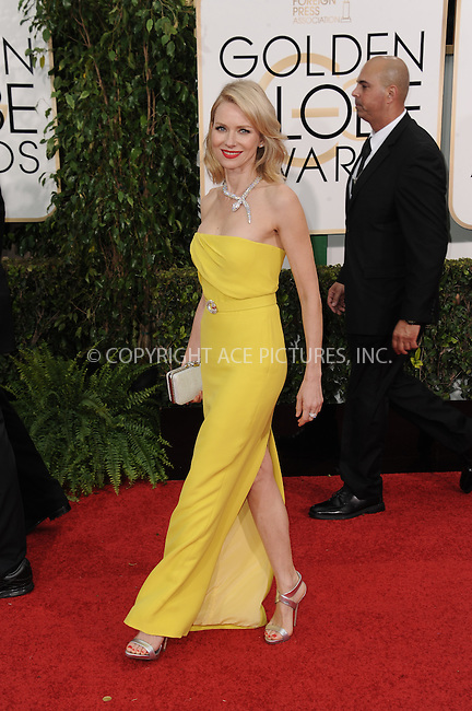 WWW.ACEPIXS.COM<br /> <br /> January 11 2015, LA<br /> <br /> Naomi Watts arriving at the 72nd Annual Golden Globe Awards at The Beverly Hilton Hotel on January 11, 2015 in Beverly Hills, California<br /> <br /> By Line: Peter West/ACE Pictures<br /> <br /> <br /> ACE Pictures, Inc.<br /> tel: 646 769 0430<br /> Email: info@acepixs.com<br /> www.acepixs.com
