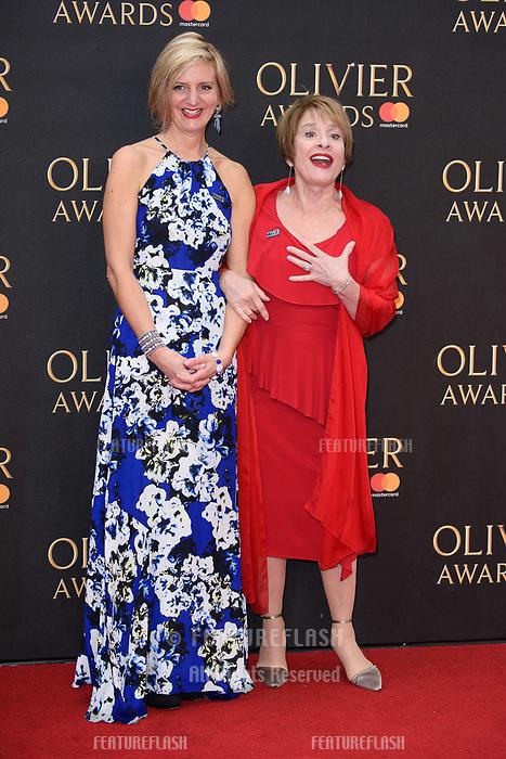 Marianne Elliott &amp; Patti LuPone arriving for the Olivier Awards 2018 at the Royal Albert Hall, London, UK. <br /> 08 April  2018<br /> Picture: Steve Vas/Featureflash/SilverHub 0208 004 5359 sales@silverhubmedia.com