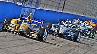 Marco Andretti leads a pack of cars, Milwaukee Indy Fest 250, Milwaukee Mile Speedway, Milwaukee, WI, August 2014.  (Photo by Brian Cleary/www.bcpix.com)