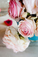 Detail of the delicate heads of freshly cut light pink roses in a vase