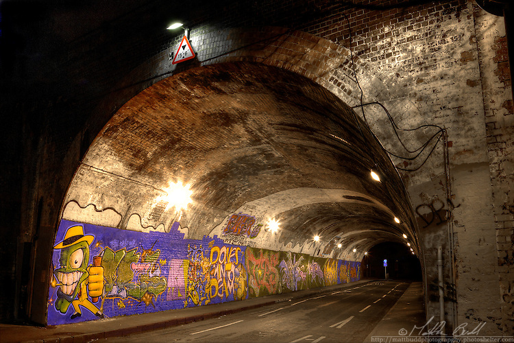 Graffiti under St Werbergs railway tunnel, Bristol