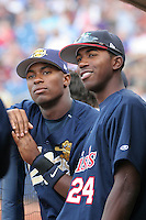 Charleston RiverDogs Austin Jackson and Dexter Fowler #24 during the South Atlantic League All-Star game at Classic Park on June 20, 2006 in Eastlake, Ohio.  (Mike Janes/Four Seam Images)