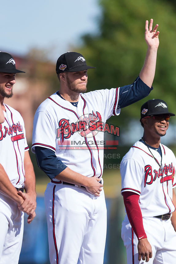 Peoria Javelinas pitcher Adam McCreery (48), of the Atlanta Braves organization, during player introductions before the Arizona Fall League Championship game against the Salt River Rafters at Scottsdale Stadium on November 17, 2018 in Scottsdale, Arizona. Peoria defeated Salt River 3-2 in 10 innings. (Zachary Lucy/Four Seam Images)