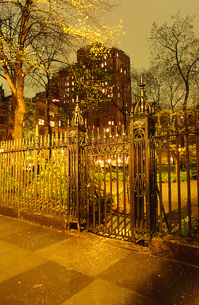 Gramercy Park Fence on an Overcast Autumn Evening, Manhattan, New York City, New York State, USA
