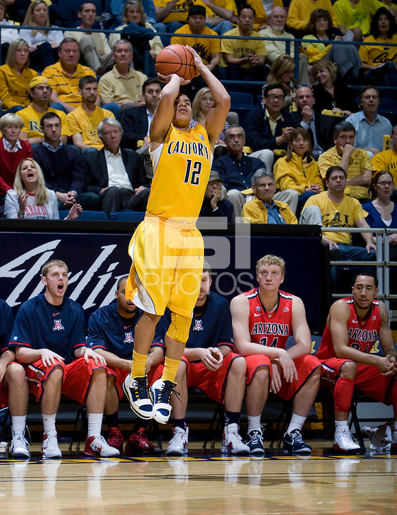 Brandon Smith of California shoots the ball during the game at Haas Pavilion in Berkeley, California on February 2nd, 2012.  Arizona defeated California, 78-74.