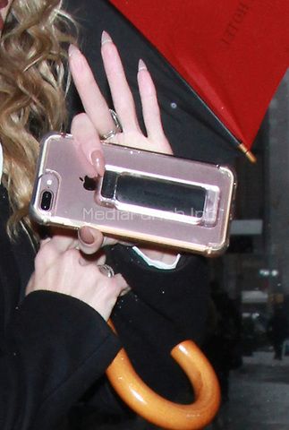 NEW YORK, NY - FEBRUARY 7:  Close up of AnnaLynne McCord's iPhone at Good Day NY promoting her new film,  First We Take Brooklyn in New York City on February 7, 2018. Credit: RW/MediaPunch