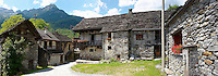 Traditional stone farm houses, Costar, Val Verzasca, Ticino, Swiss alps
