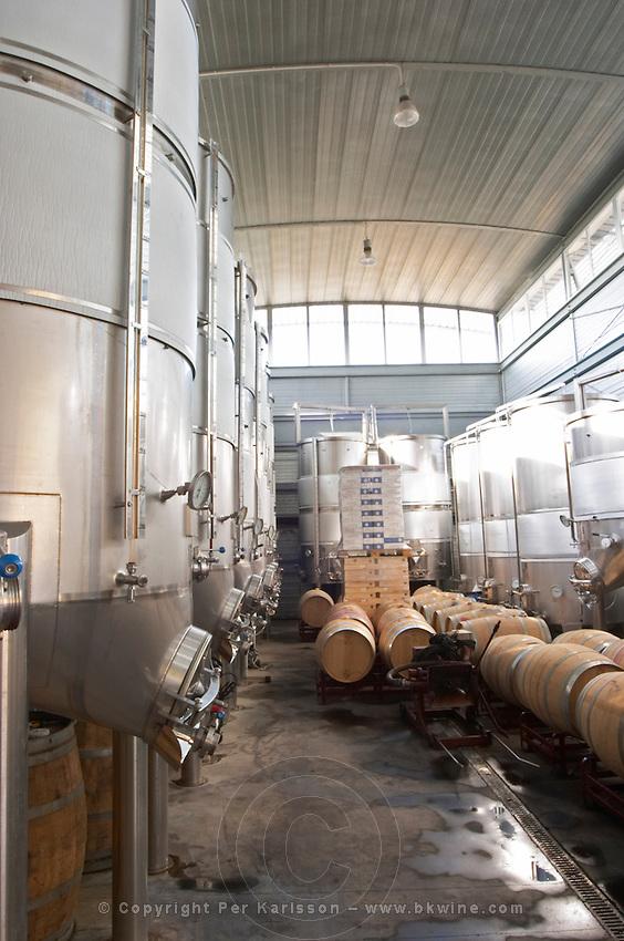 Fermentation tanks. Mas Igneus, Gratallops, Priorato, Catalonia, Spain.
