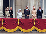"""QUEEN, PRINCE CHARLES, CAMILLA, PRINCE WILLIAM, CATHERINE AND PRINCE HARRY.watch the RAF flypast from the balcony of Buckingham Palace on the occasion of the Queen's Diamond Jubilee_5th June 2012.Mandatory Credit Photo: ©L Cash/NEWSPIX INTERNATIONAL..**ALL FEES PAYABLE TO: """"NEWSPIX INTERNATIONAL""""**..IMMEDIATE CONFIRMATION OF USAGE REQUIRED:.Newspix International, 31 Chinnery Hill, Bishop's Stortford, ENGLAND CM23 3PS.Tel:+441279 324672  ; Fax: +441279656877.Mobile:  07775681153.e-mail: info@newspixinternational.co.uk"""