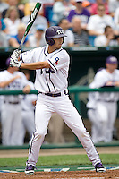 TCU's RF Brance Rivera against Florida State in Game 1 of the NCAA Division One Men's College World Series on Saturday June 19th, 2010 at Johnny Rosenblatt Stadium in Omaha, Nebraska.  (Photo by Andrew Woolley / Four Seam Images)