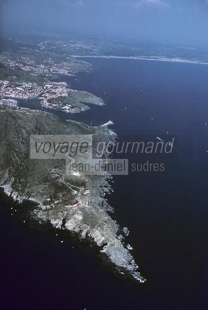 Europe/France/Languedoc-Roussillon/66/Pyrénées-Orientales/Env Port-Vendres: Le cap Béar Vue aérienne