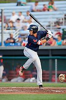 Lowell Spinners right fielder Tyler Dearden (60) at bat during a game against the Auburn Doubledays on July 13, 2018 at Falcon Park in Auburn, New York.  Lowell defeated Auburn 8-5.  (Mike Janes/Four Seam Images)