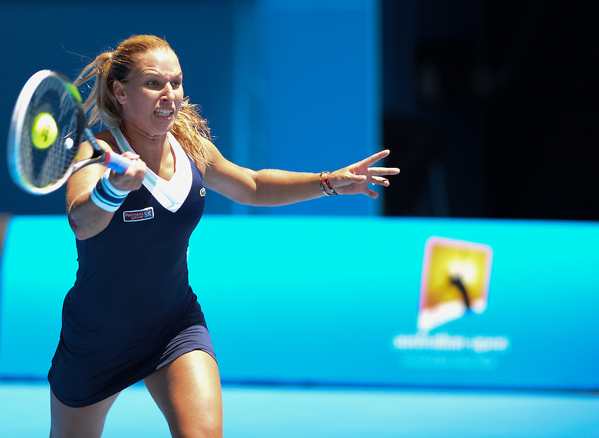 Dominika Cibulkova (SVK) [20] in action during her victory over Maria Sharapova (RUS) [3] in their Women's Singles Fourth Round match today - Dominika Cibulkova (SVK) [20] def Maria Sharapova (RUS) [3] 3-6 6-4 6-1 <br /> <br /> Photo by Gillian Elliott/CameraSport<br /> <br /> International Tennis - Australian Open - Day 8 Monday 20th January 2014 - Melbourne Park - Melbourne, Victoria, Australia<br /> <br /> &copy; CameraSport - 43 Linden Ave. Countesthorpe. Leicester. England. LE8 5PG - Tel: +44 (0) 116 277 4147 - admin@camerasport.com - www.camerasport.com