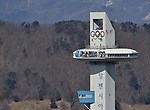 The Alpensia ski jumping centre. Skeleton training. Pyeongchang2018 winter Olympics. Olympic sliding centre. Alpensia. Pyeongchang. Republic of Korea. 07/02/2018. ~ MANDATORY CREDIT Garry Bowden/SIPPA - NO UNAUTHORISED USE - +44 7837 394578