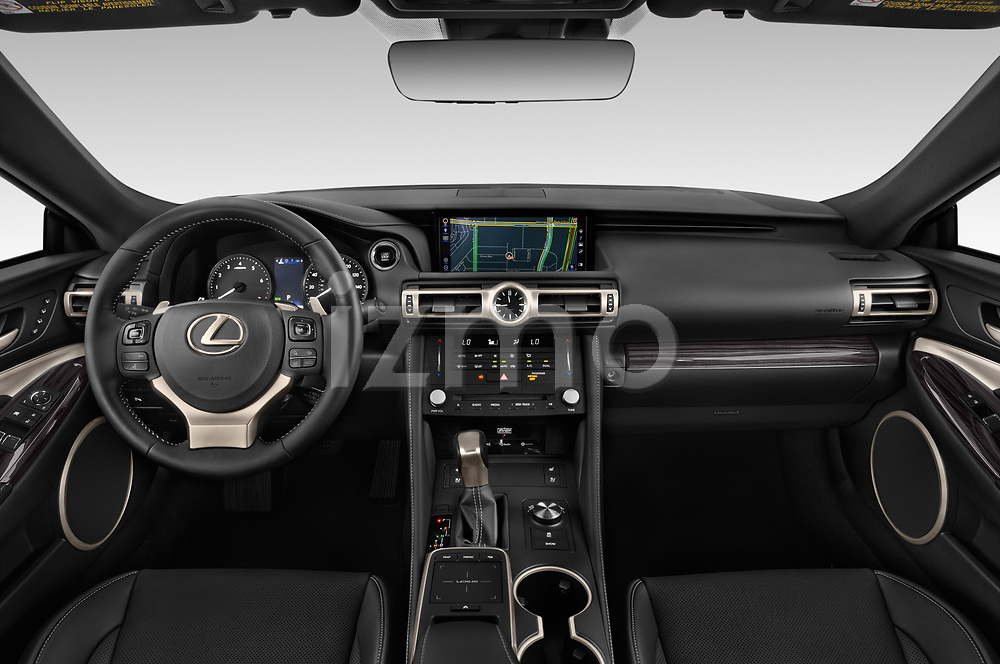 Stock photo of straight dashboard view of a 2019 Lexus RC 350 2 Door Coupe