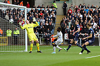 Pictured: Nathan Dyer of Swansea (2nd L) in his shot which bounced off the bar and Tottenham goalkeeper Brad Friedel (L).  Saturday 30 March 2013<br /> Re: Barclay's Premier League, Swansea City FC v Tottenham Hotspur at the Liberty Stadium, south Wales.