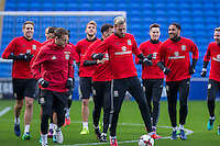 Wales players including Chris Gunter and Aaron Ramsey take a jog during a Wales Training Session at Cardiff City Stadium ahead of the FIFA World Cup Qualification match against Serbia, Cardiff, Wales on 11 November 2016. Photo by Mark  Hawkins.